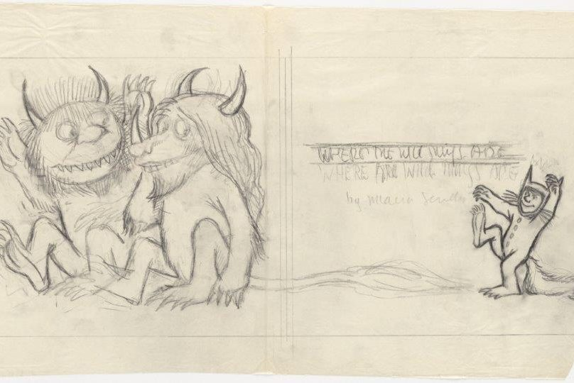 Preliminary drawing of title page for 'Where the Wild Things Are' (New York: Harper & Row, 1963), 26:7. (The Maurice Sendak Collection)