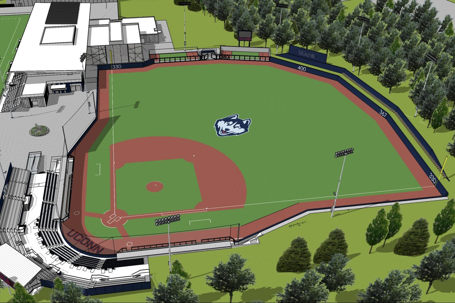 A design of the Elliot Ballpark, the new 1,500-seat facility scheduled to open in the spring of 2020.