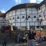 Anna Aldrich outside The Globe – a reconstruction of the Globe Theatre, an Elizabethan playhouse associated with William Shakespeare – in London, England.