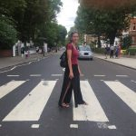 Anna Aldrich crossing Abbey Road – made famous by the Beatles –  in London.