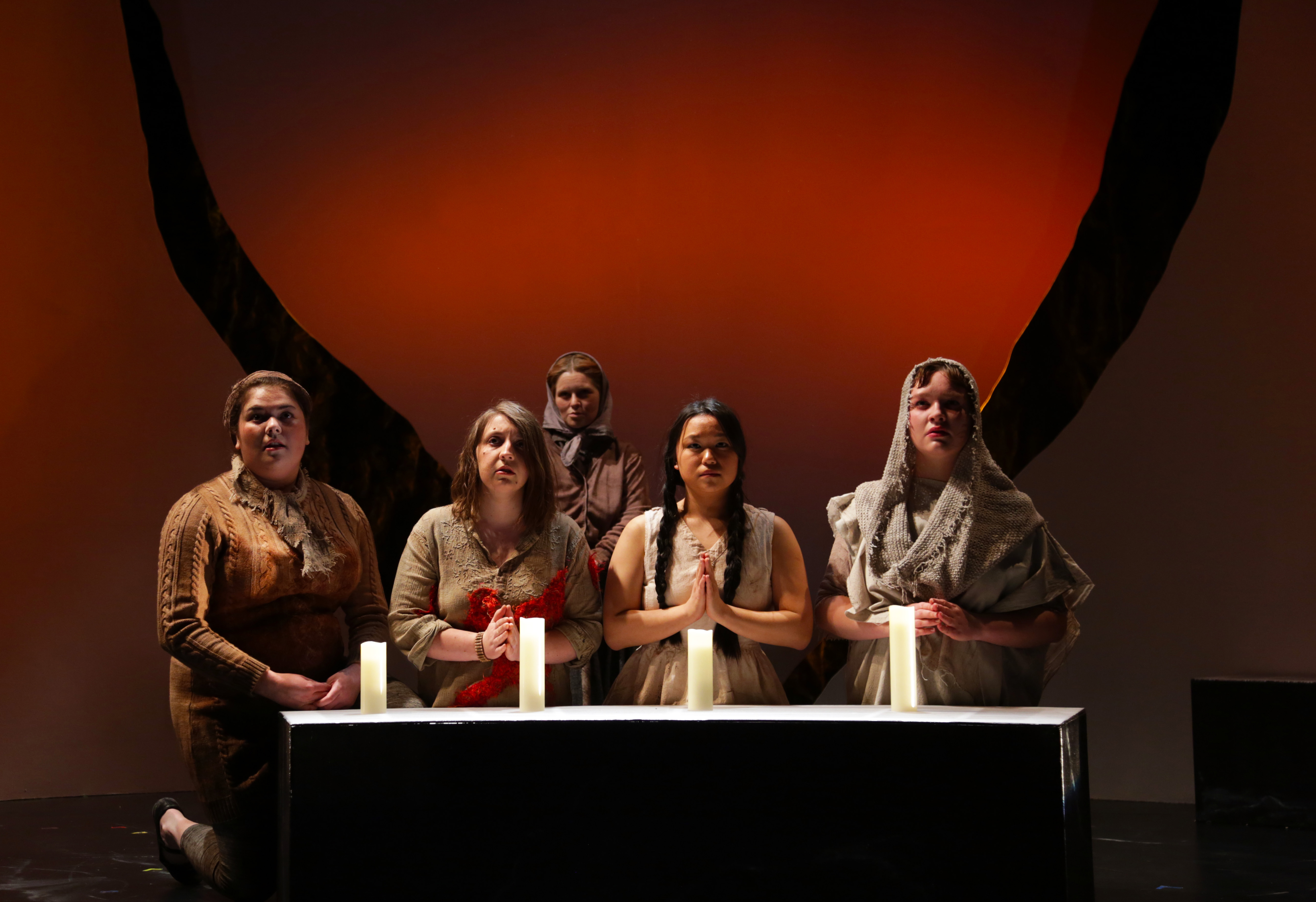 From left, Eilis Garcia (The Pregnant One), Elizabeth Jebran (The Bleeding One), Adrianna Simmons (The One with Dwindling Dignity), Pearl Matteson (The Young One), and Willow Giannotti-Garlinghouse (The Pious One) in Connecticut Repertory Theatre's production of 'If We Were Birds' by Erin Shields, onstage in the Studio Theatre through April 7. (Gerry Goodstein for UConn)