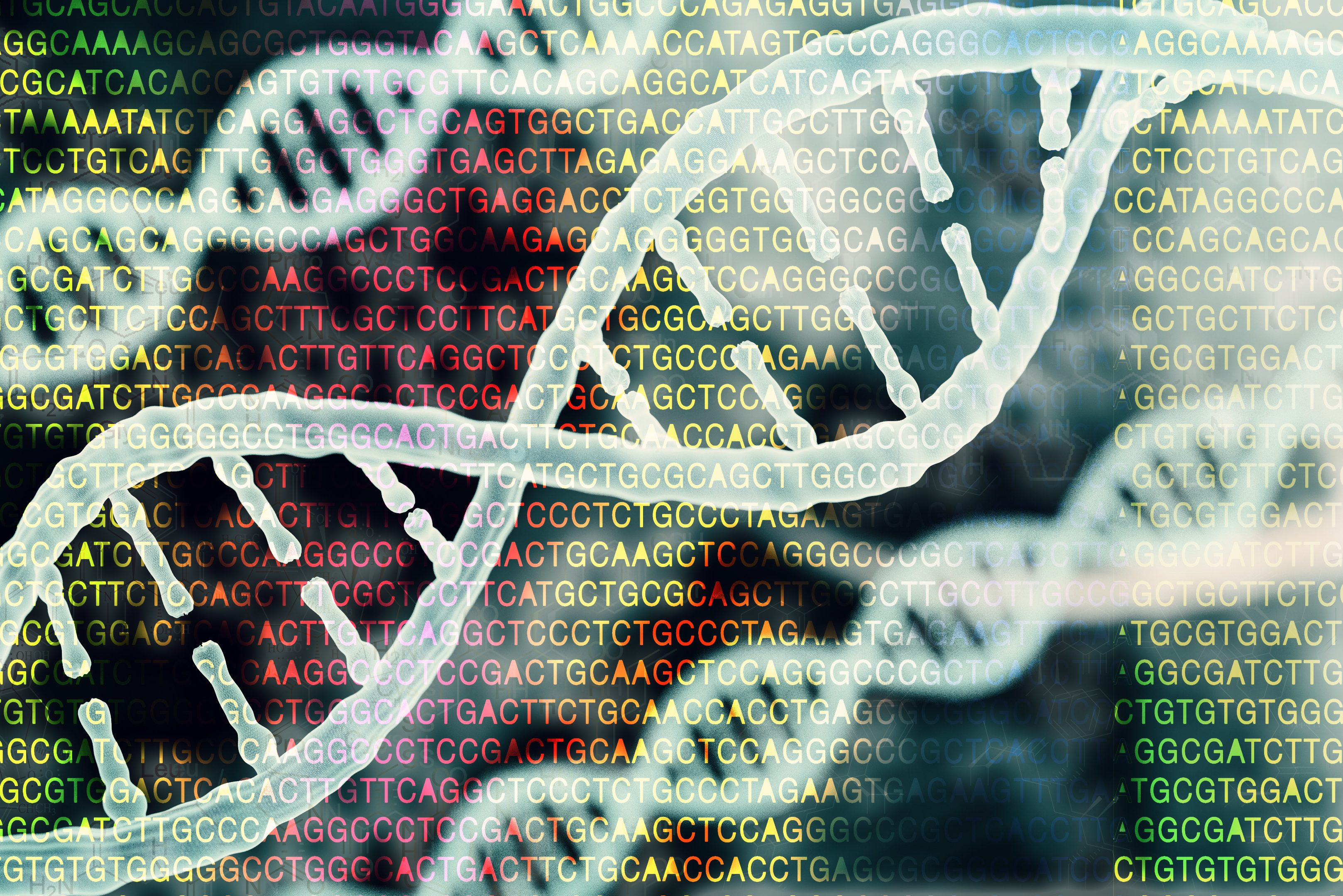 Biotechnology/bioinformatics concept showing DNA and protein letter background. (Getty Images)