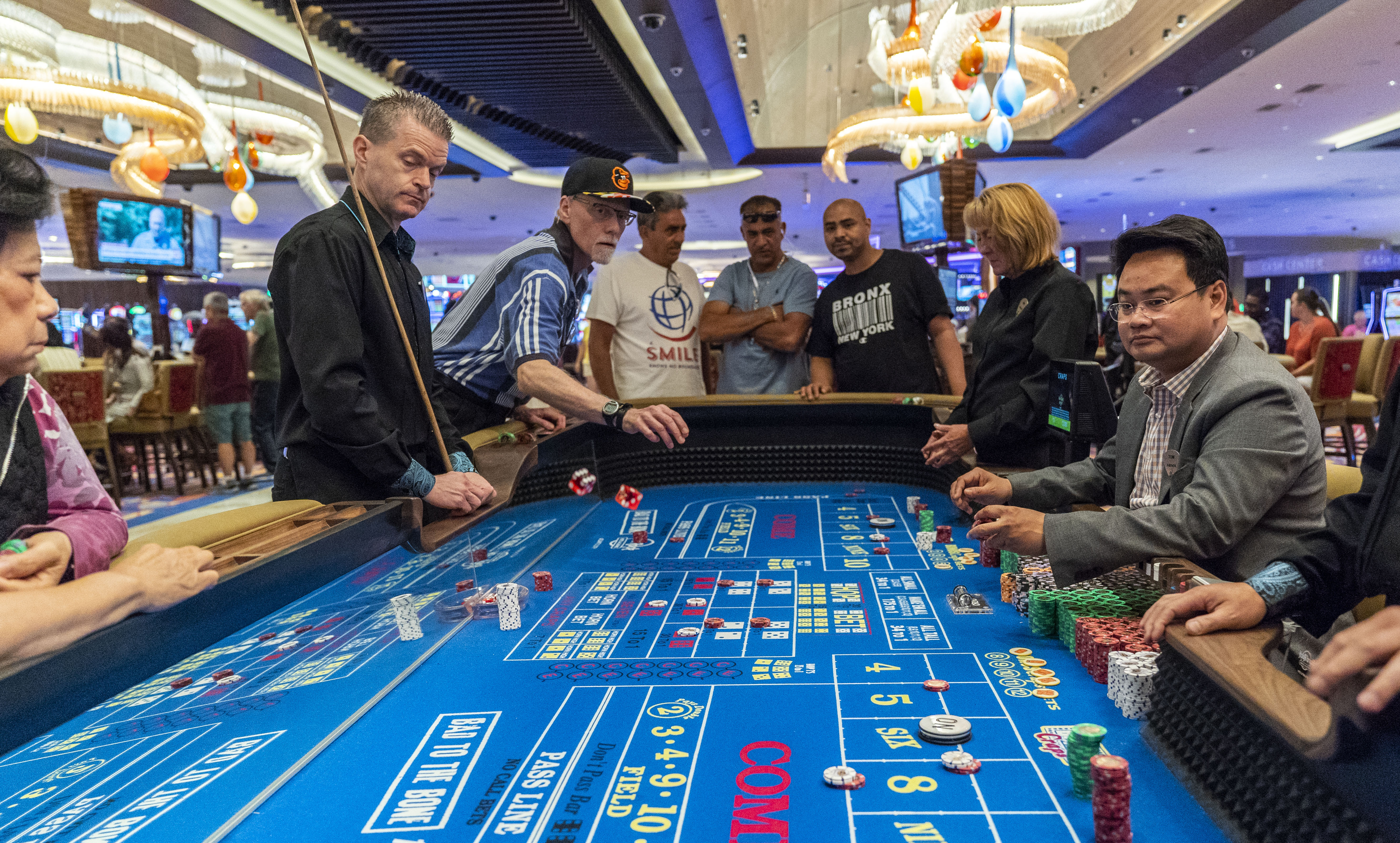 Patrons gamble inside the Hard Rock Hotel and Casino in Atlantic City, New Jersey. The Hard Rock is one of two new casinos that opened last year in the seaside resort. (Jessica Kourkounis/Getty Images)