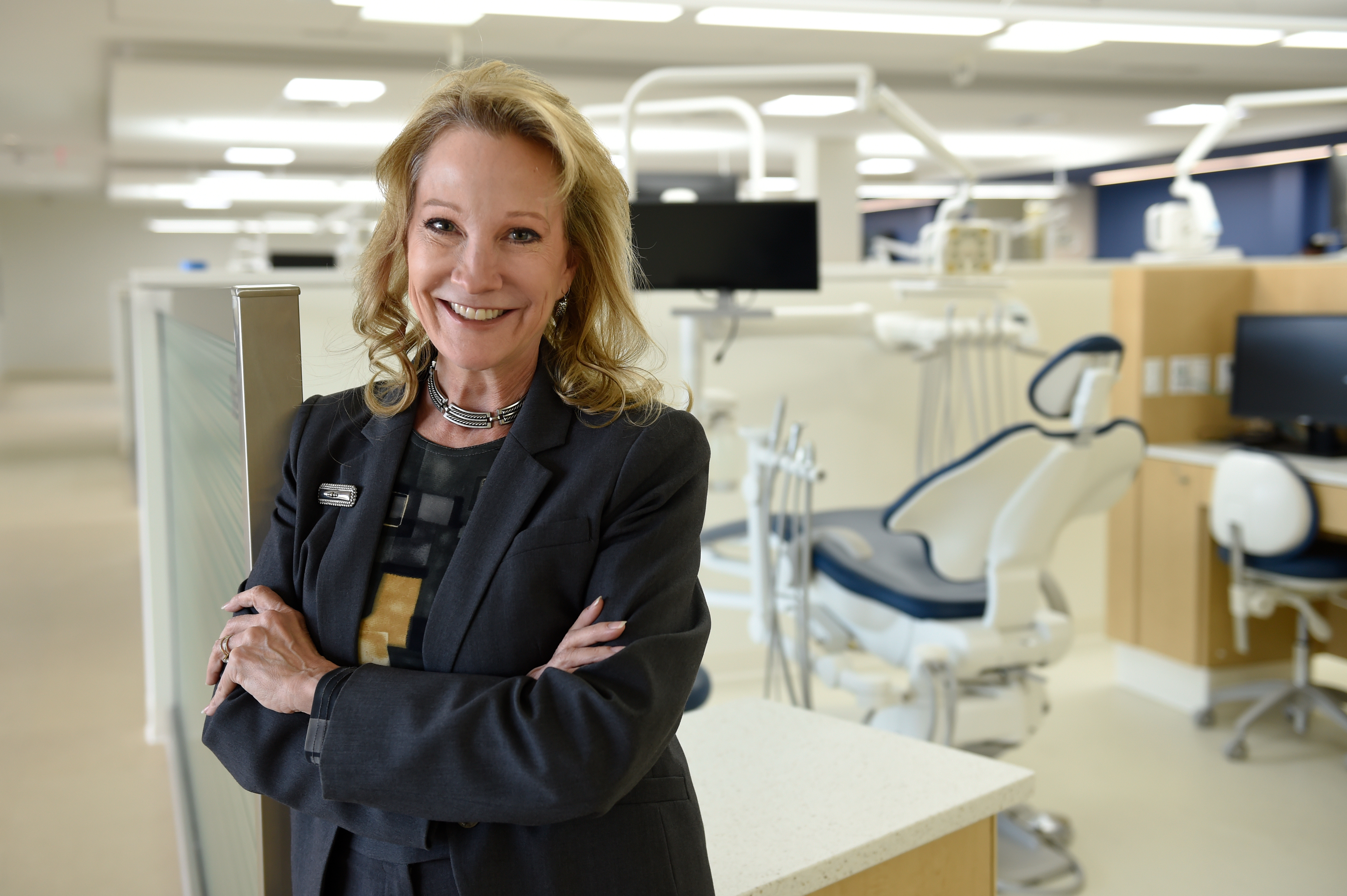 Dr. Sharon Gordon, dean of the UConn School of Dental Medicine, in the newly renovated Dental Care Clinic at UConn Health. (Cloe Poisson, Copyright © 2019. Hartford Courant. Used with permission.)