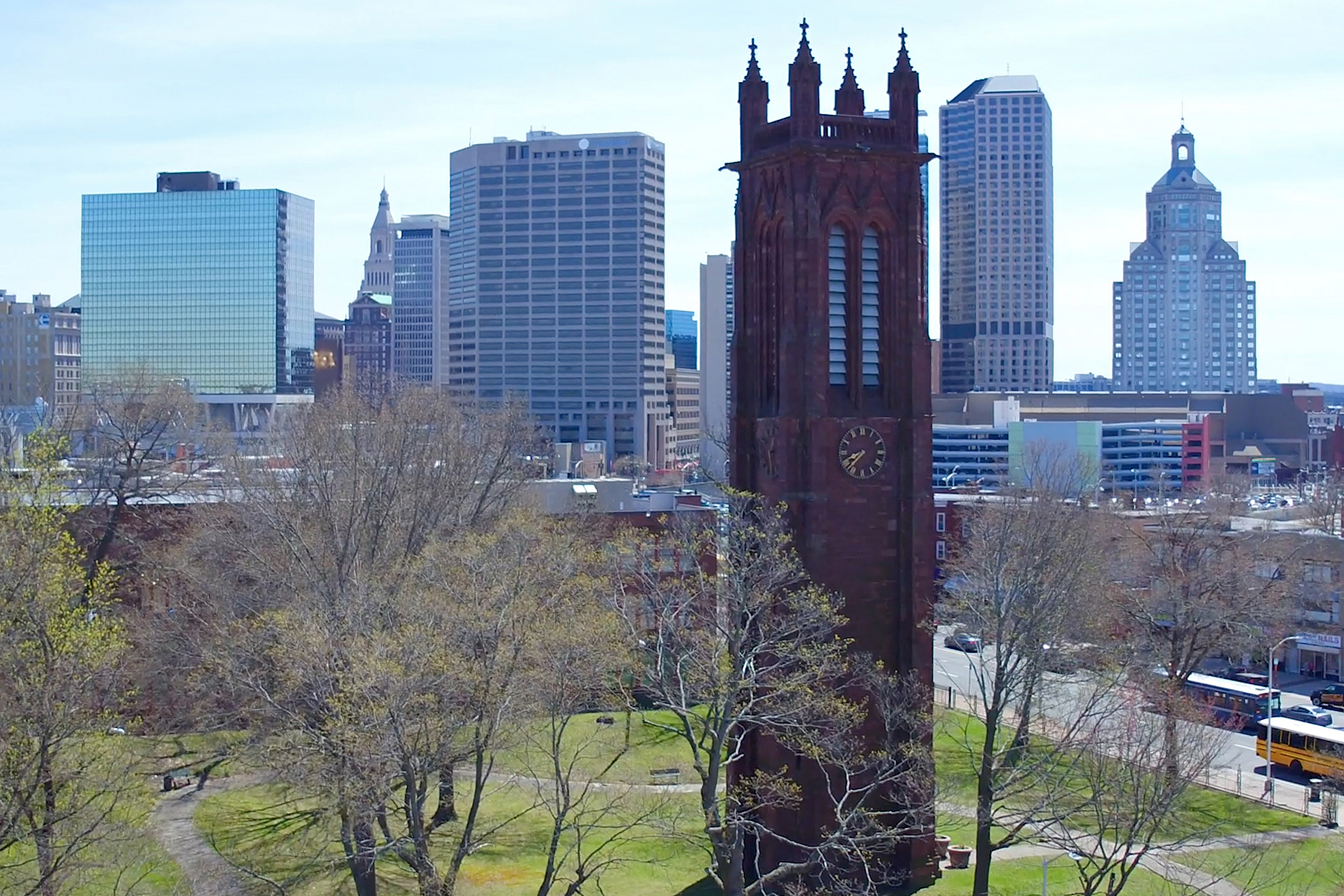 The Keney Memorial Clock Tower in Hartford. (Tom Rettig/UConn Photo)