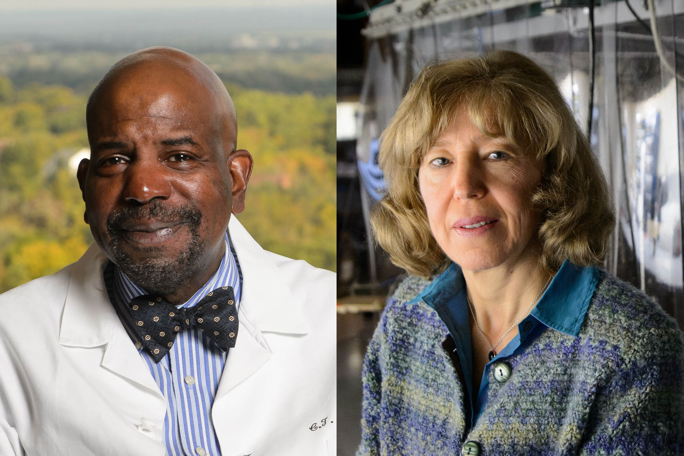 Dr. Cato Laurencin, left, and physics professor Nora Berrah have been elected to the American Academy of Arts and Sciences, Class of 2019. (Peter Morenus/UConn Photos)
