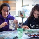 Madeline Ross (left) and Taylor DelMastro (right) from Horace W. Porter School in Columbia, Connecticut use common materials to cross-link a polymer and observe the physical changes from cross-linking. (Christopher LaRosa/UConn Photo)