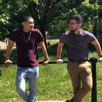 Omaniel Ortiz '20 (CAHNR), right, with fellow UConn student and economics major Alex Rivera '20 (CLAS) in the park near Buckingham Palace.