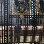 Omaniel Ortiz '20 (CAHNR) in front of Buckingham Palace, the official residence of the Queen of England.