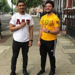 Omaniel Ortiz '20 (CAHNR), right, with fellow UConn student and economics major Alex Rivera '20 (CLAS) outside their apartment in Little Venice, London.