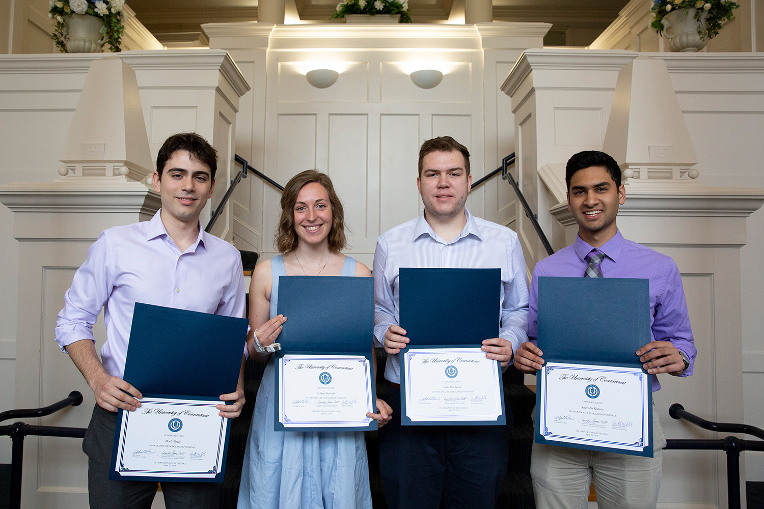 UConn's 2019 Goldwater Scholars during the Office of National Scholarships and Fellowships' 2019 Celebration of Excellence at the Alumni Center on April 23. This year for the first time, all four of the UConn students nominated as Goldwater Scholars were successful. (Bri Diaz/UConn Photo)