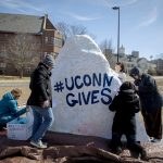 UConn Gives Rock Painting