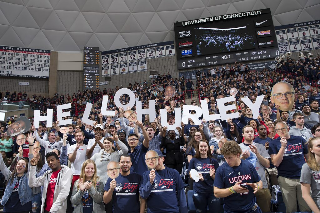 A UConn Men's Basketball home game at Gampel Pavilion. (Stephen Slade '89 (SFA) for UConn)