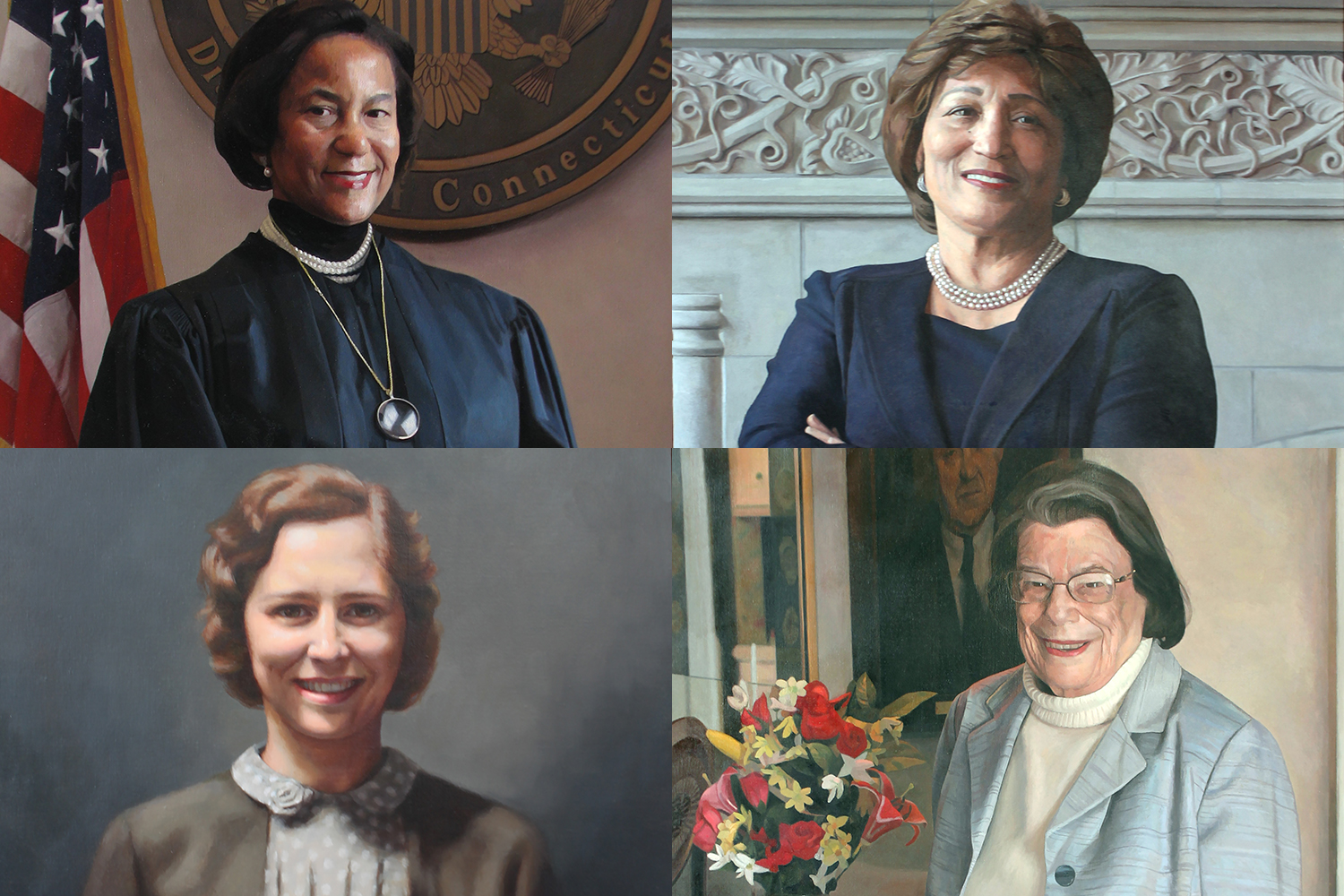 Clockwise from top left: Vanessa Bryant, the first African American federal judge in New England; Linda Kelly, the first woman and the first African American to serve as president of the Hartford Foundation for Public Giving; Ellen Ash Peters, the first female chief justice of the Connecticut Supreme Court; Caroline Lillard, founder of the law school and administrator and librarian in its early years.