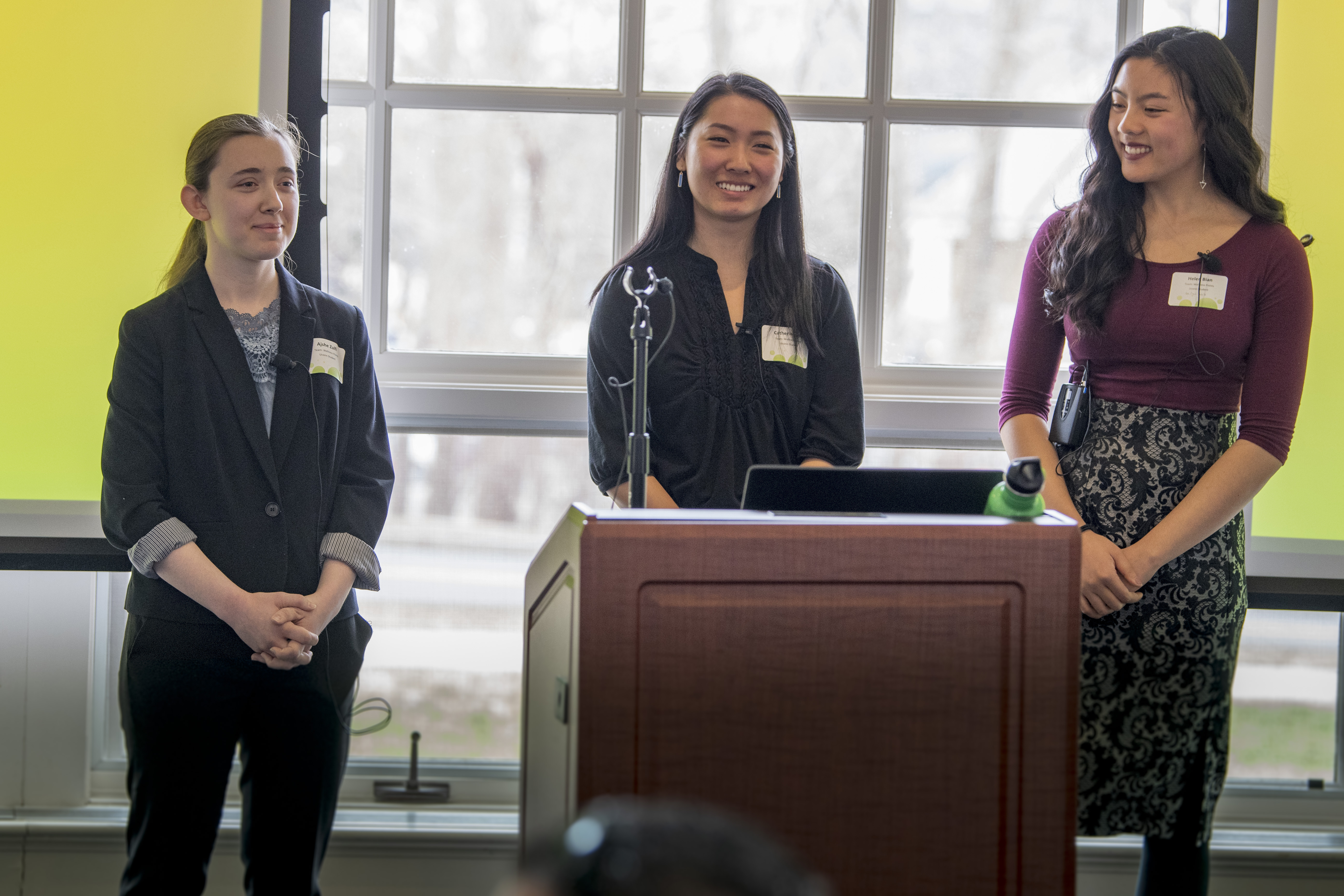 From left, Ajshe Zulfi '21 (BUS), Catherine Qiu '21 (CLAS), and Helen Bian '21 (CLAS) won the 2019 Wellness Case Competition on April 5 with their proposal for 'Wellness Points' to foster student well-being. (Sean Flynn/UConn Photo)