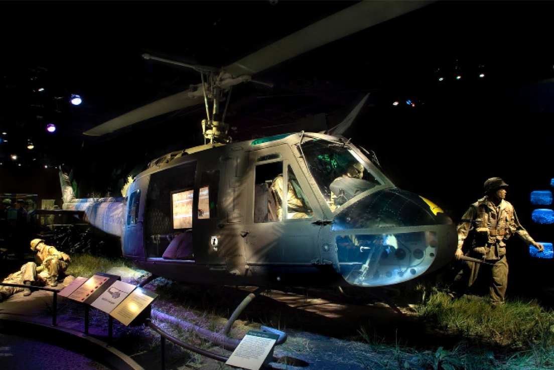 A U.S. Bell UH-1 Iroquois 'Huey' helicopter that saw combat in the Vietnam War, on display at the Smithsonian Museum of American History. Political scientist Christine Sylvester argues that exhibits like this valorize war. (Photo courtesy of Christine Sylvester)