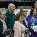 Judges receive commemorative plaques for more than 20 years of service to the Connecticut Invention Convention. (Lucas Voghell '20 (CLAS)/UConn Photo)