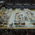 The inventors' tables are ready to go as the day begins at Gampel Pavilion. Additional displays were located in the Rome Ballroom and the Student Union Ballroom. (Lucas Voghell '20 (CLAS)/UConn Photo)