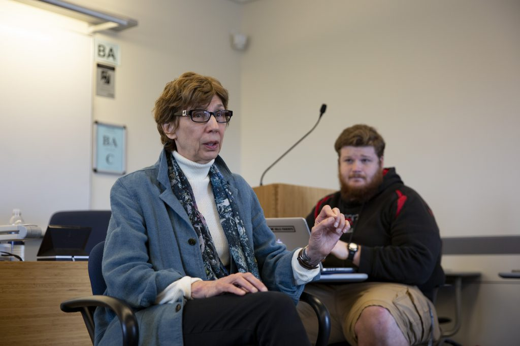 Christine Sylvester, professor of political science, leads a political science class on Gender and War. (Bri Diaz/UConn Photo)