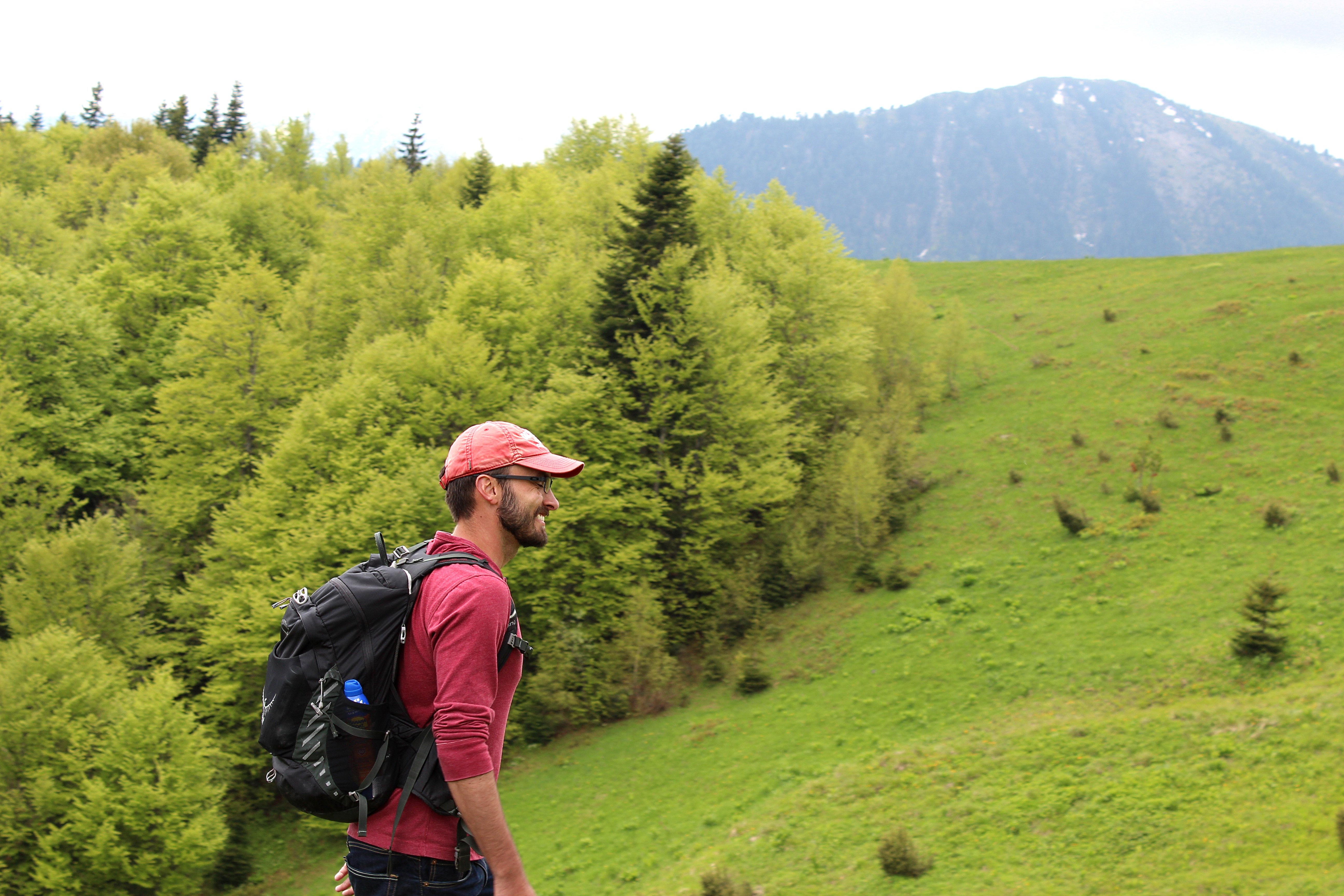 UConn graduate student in archaeology Elic Weitzel walking in the mountains of Kosovo. (Photo by Dukagjin Mehmetaj).