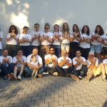 The crew of RAPID-K 2019, wearing project t-shirts, in Peja, Kosova. Peja is the third-largest city in the country. (Photo by Sylvia Deskaj Galaty)