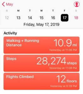 Screen grab of Pierre LePage's step tracker, showing 10.9 miles and 28,274 steps on May 17