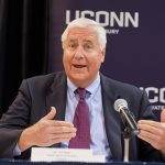 Thomas Ritter, interim chair of the Board of Trustees, speaks at the event. (Peter Morenus/UConn Photo)