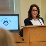 Lynn Ward, CEO of the Waterbury Chamber of Commerce, speaks at the event. (Peter Morenus/UConn Photo)