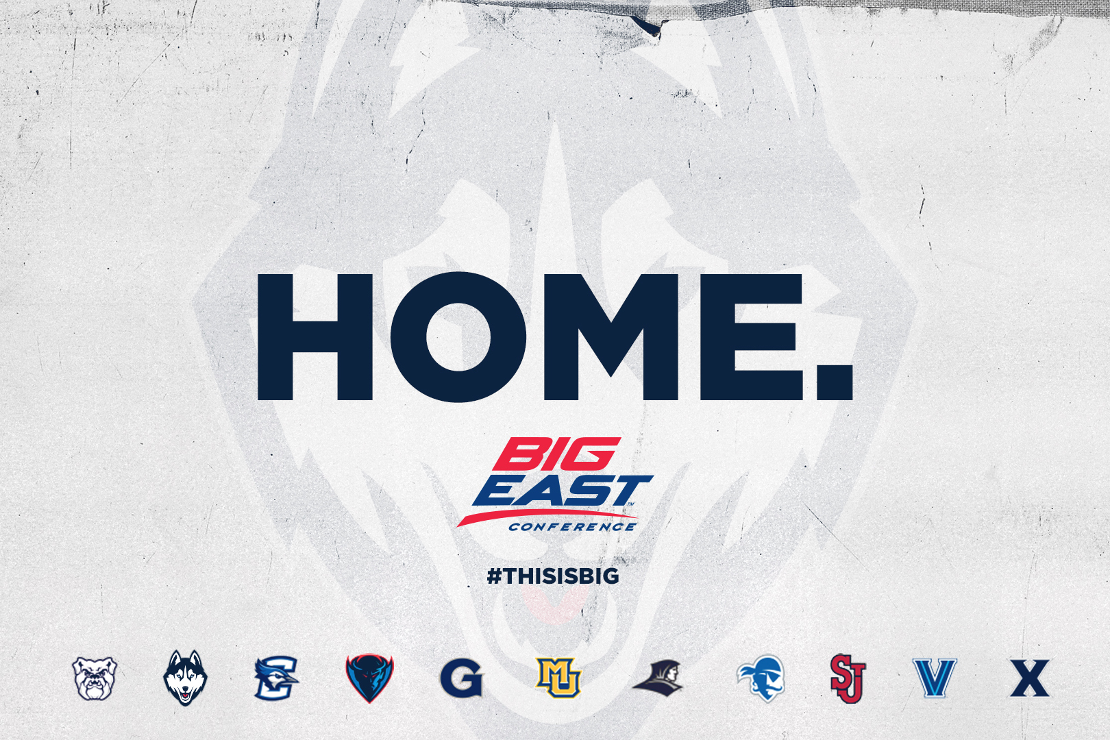 BIG EAST graphic with the word 'Home.'