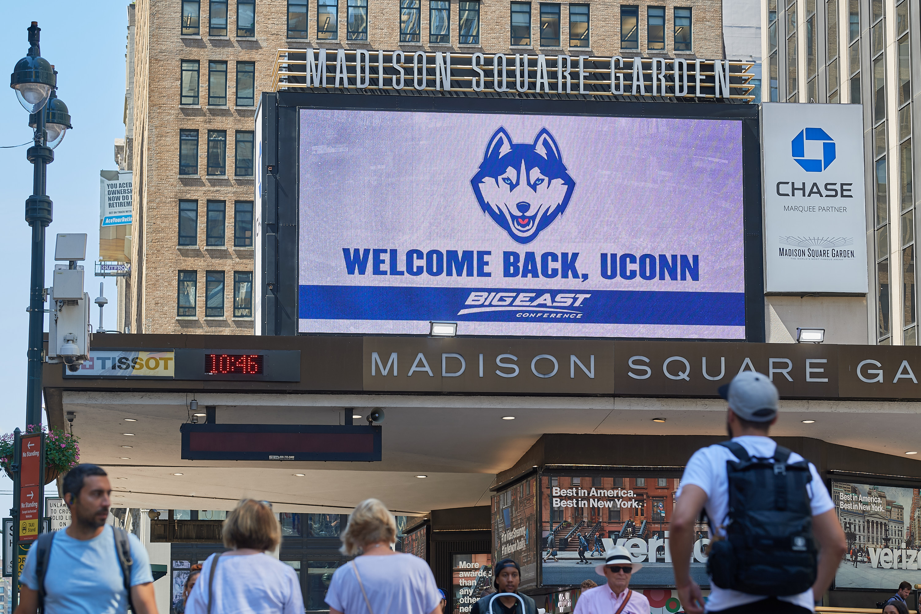 A marquee welcoming UConn back to the Big East seen outside Madison Square Garden along 7th Avenue in Manhattan on June 27, 2019. (Peter Morenus/UConn Photo)