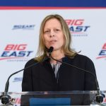 Val Ackerman, Big East commissioner, speaks at the event announcing UConn's return to the Big East athletic conference on June 27, 2019. (Peter Morenus/UConn Photo)
