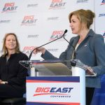 President Susan Herbst, right, speaks at the event announcing UConn's return to the Big East athletic conference, as Val Ackerman, Big East commissioner, looks on. (Peter Morenus/UConn Photo)