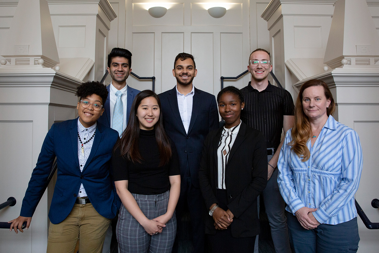 The 2019 Fulbright U.S. Student Program honorees. First row, from left to right: Chriss Sneed, Ph.D. student in sociology; Angela Kang '19 (CLAS); Brianna McClure '19 (CLAS); Kim Sawicki '19 (CAHNR). Second row, from left to right: Sahil Laul '19 (CLAS); Dhruv Shah '19 (CLAS); Omar Taweh '19 (CLAS). (Bri Diaz/UConn Photo)