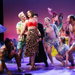 Lauren Blackman (Tanya), center, and the ensemble of Mamma Mia! (Gerry Goodstein for UConn)