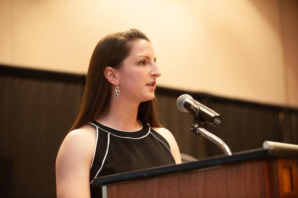 Emily Perriello speaks to the Pharm.D. class of 2019 at the annual Awards Banquet.