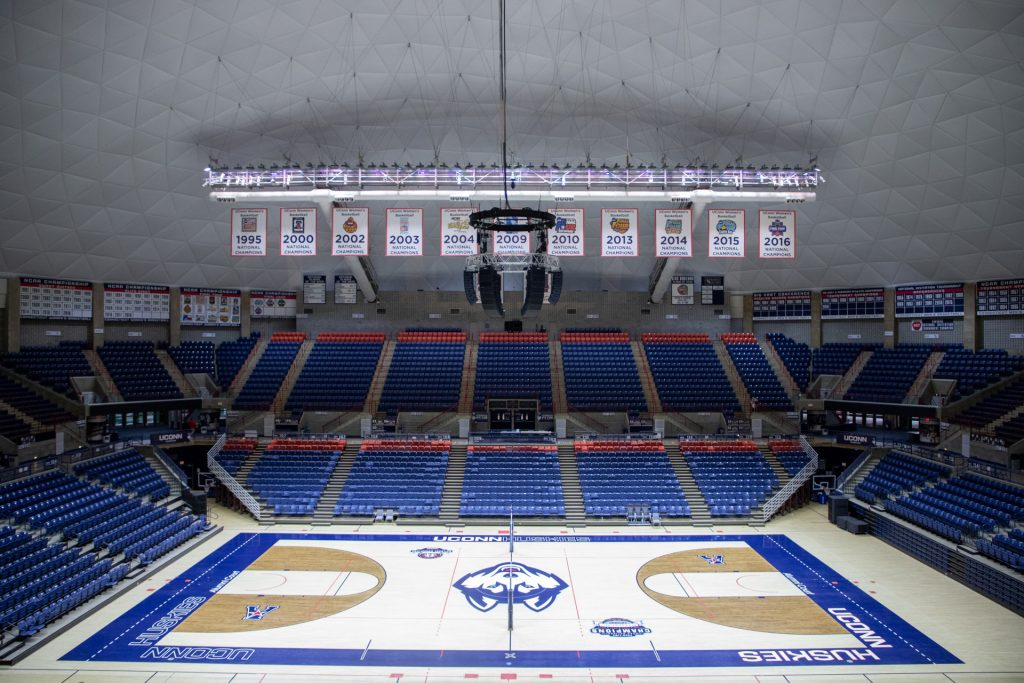 Gampel Pavilion is being equipped with a new Bose sound system. (Jason Reider/UConn Athletics Photo)