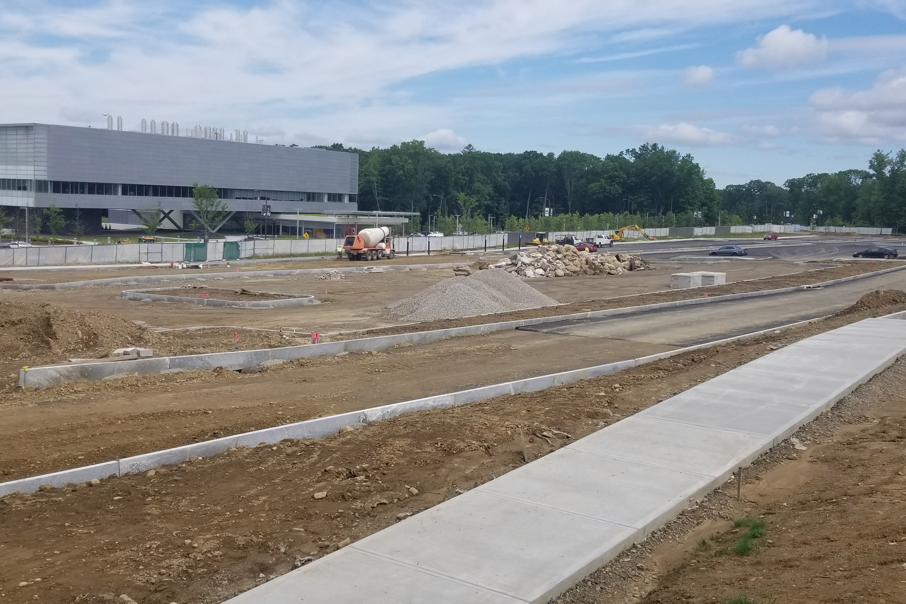 Lot K, a new parking lot on Discovery Drive across from the Innovation Partnership Building, will be completed prior to the fall 2019 semester, providing 700 spaces for commuter students. (Mike Enright/UConn Photo)