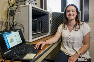 SURF student Grace Nichols '20 (CLAS) using software to measure response rates of mice with hopes of understanding Tinnitus. June 27, 2019. (Sean Flynn/UConn Photo)