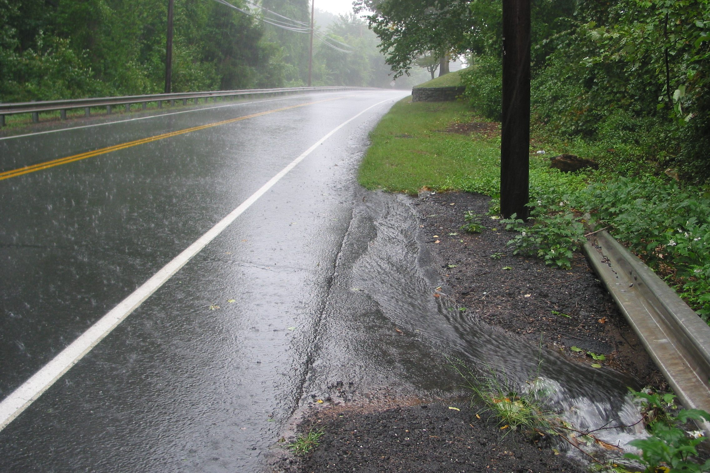Rain overwhelms a local drainage system. (Kara Bonsack /UConn Photo)