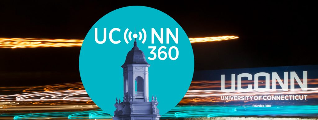 UConn 360 Podcast logo with the UConn gateway sign in the background
