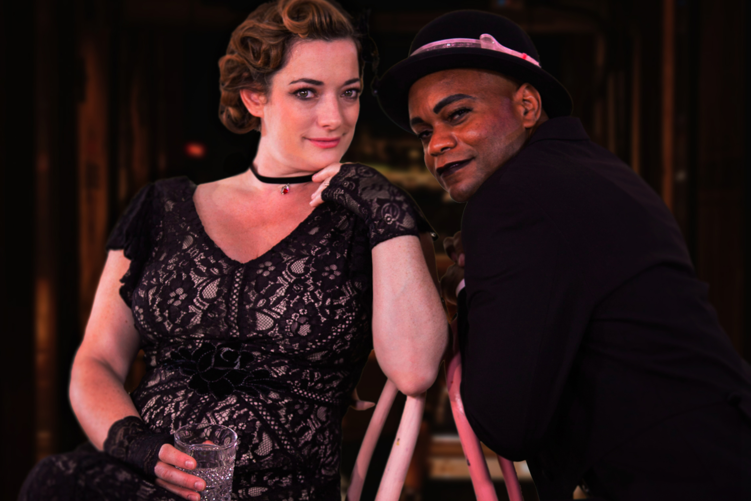 Olivier Award winner Laura Michelle Kelly, left, stars as Sally Bowles and Forrest McClendon as Emcee, in the Nutmeg Summer production of 'Cabaret,' on stage at Connecticut Repertory Theatre July 4-21. (Jean Samedi for UConn)