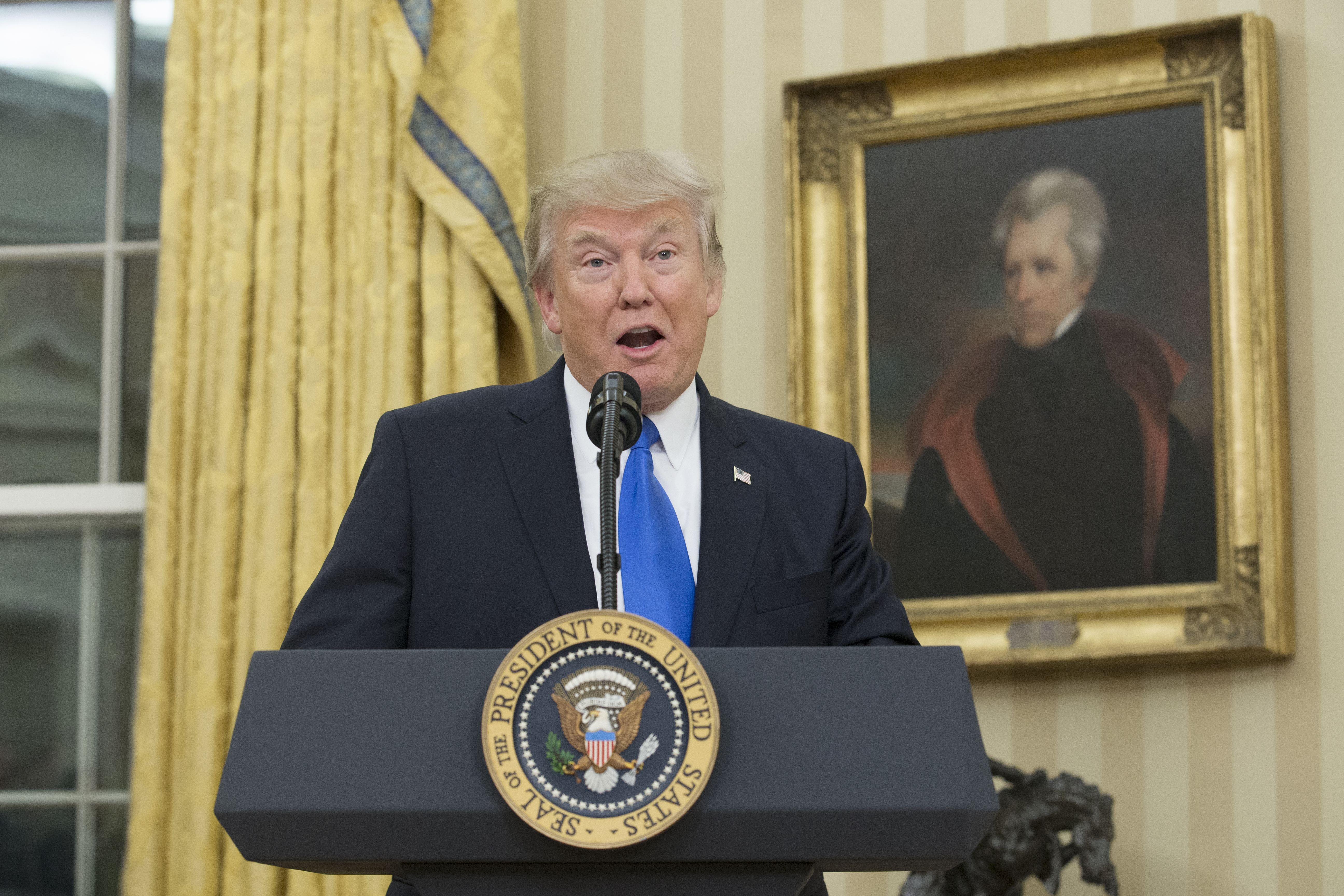 President Donald Trump stands before a portrait of President Andrew Jackson in the Oval Office.