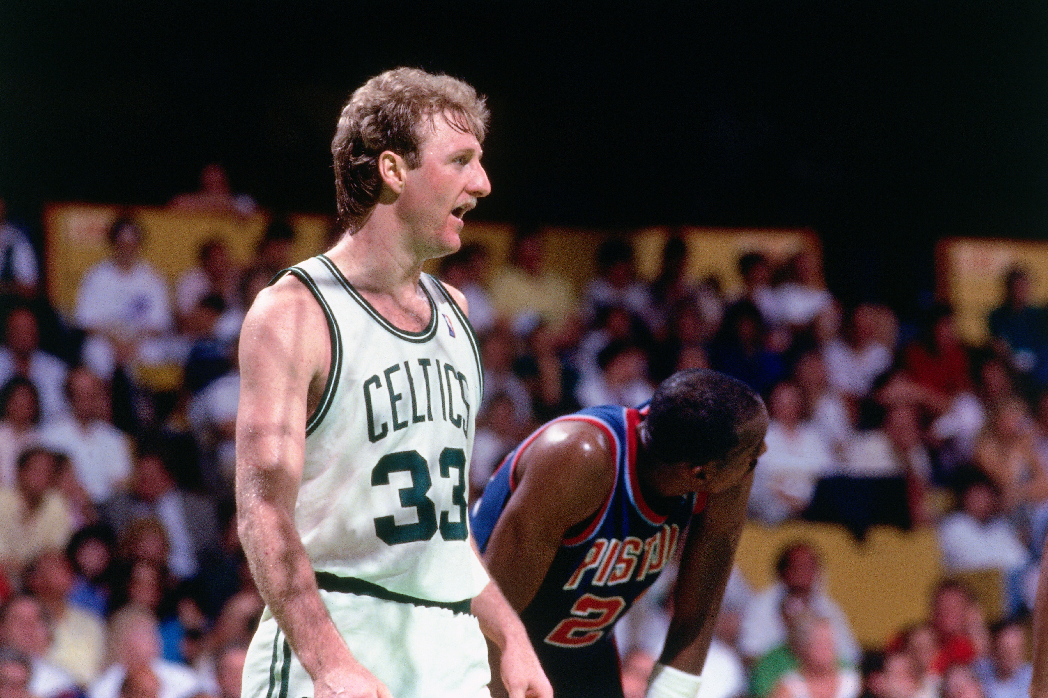 CIRCA 1987: Larry Bird #33 of the Boston Celtics playing the Pistons. (Photo by Jerry Wachter/Sports Imagery/Getty Images)