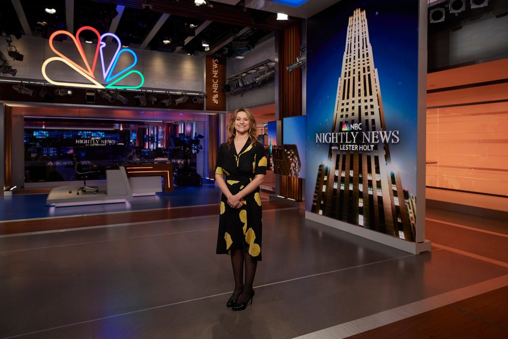 Jenn Suozzo '99 (CLAS) on the set of the NBC Nightly News at Rockefeller Center in Manhattan on May 9, 2019. (Peter Morenus/UConn Photo)