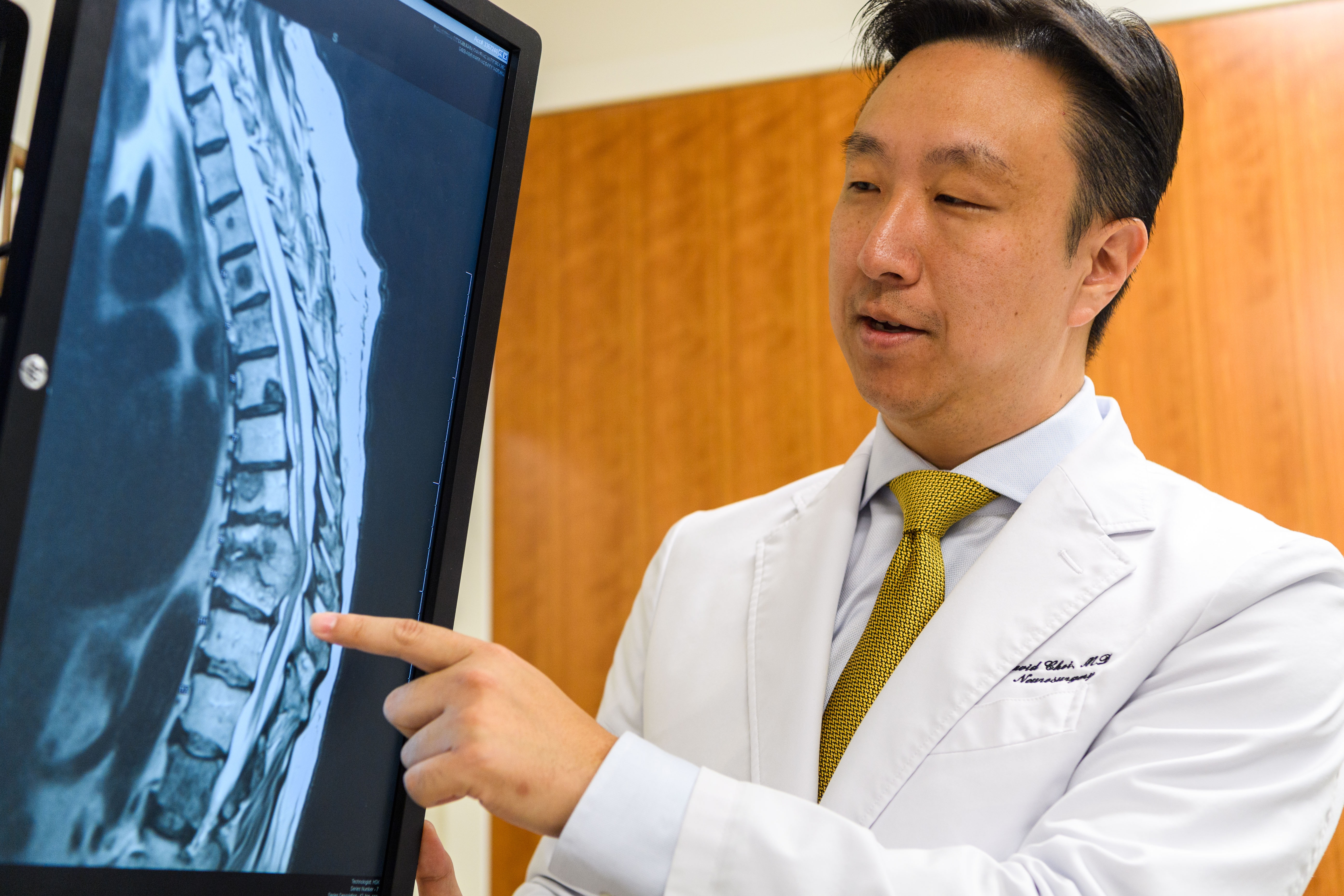 Dr. David Choi is the new spinal oncology surgeon at UConn Health (Peter Morenus/UConn Photo).