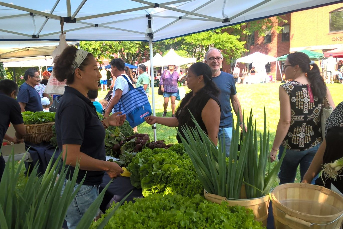 Partha Loor of UConn Extension's urban agriculture program, sells produce at the Danbury Farmers' Market. (Sara Putnam/UConn Photo)