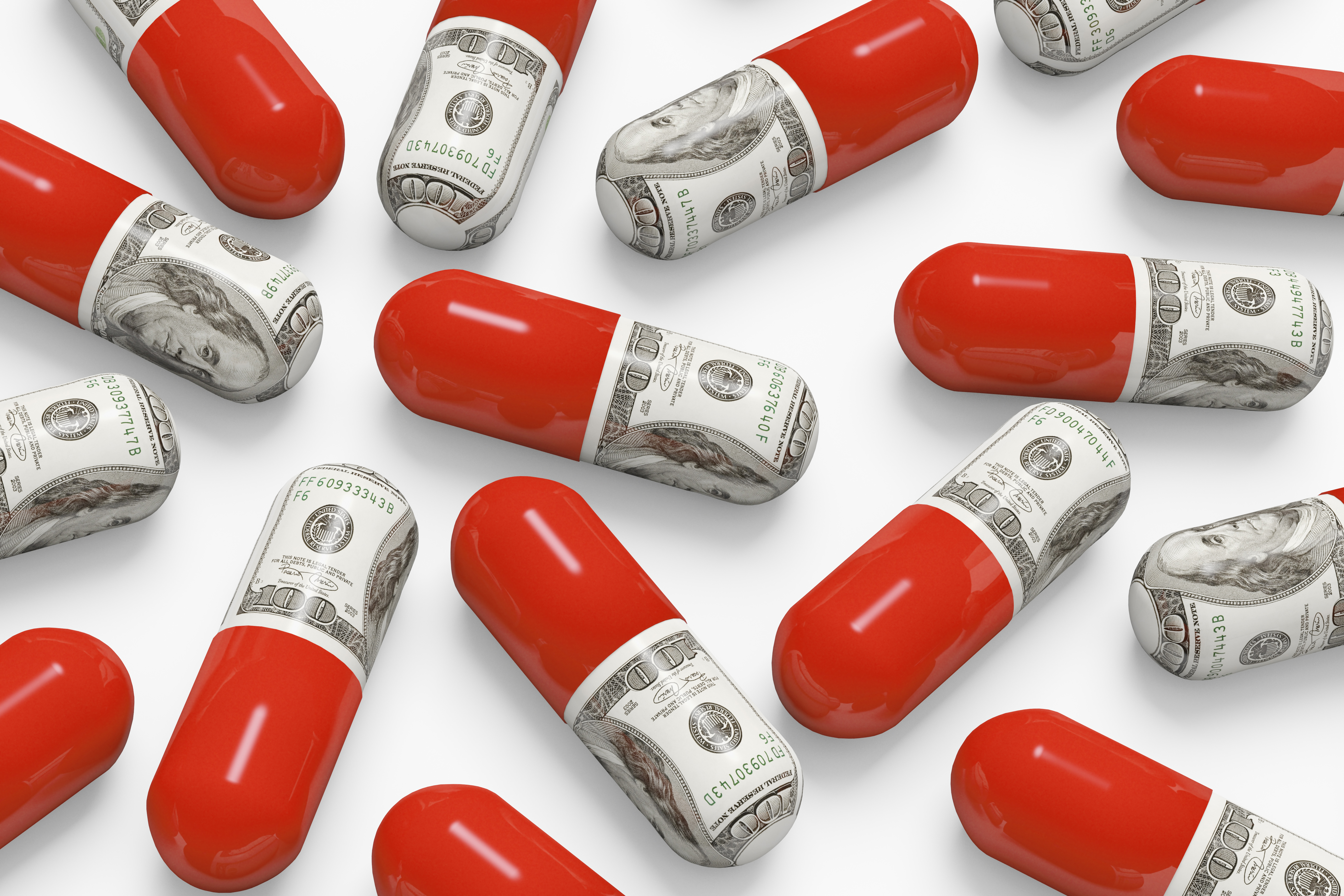 An illustration of pills decorated with hundred-dollar bills.