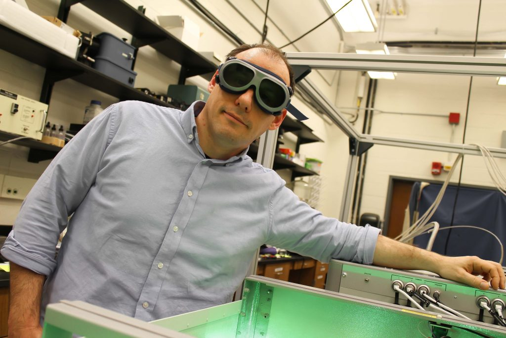 University of Connecticut professor of physics Carlos Trallero is a pioneer in a field of research that uses high-power lasers to investigate atomic and molecular physical phenomena. (Carson Stifel ('21 CLAS)/UConn Photo)