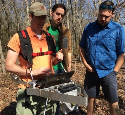 Robert Fahey, assistant professor of forest ecology and management, uses the LIDAR technology to gather data. (Submitted Photo)