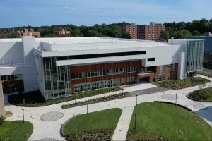 An overhead view of the new Student Recreation Center on a sunny day